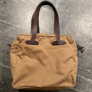 FILSON tan zip top rugged twill tote bag brown